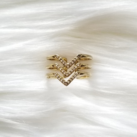 Stella & Dot Jewelry - Stella & Dot Gold Pave Chevron Ring